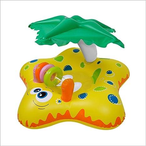Flotador para Bebé con Asiento, Parasol Flotador de Piscina para Bebe Anillo de Natación de