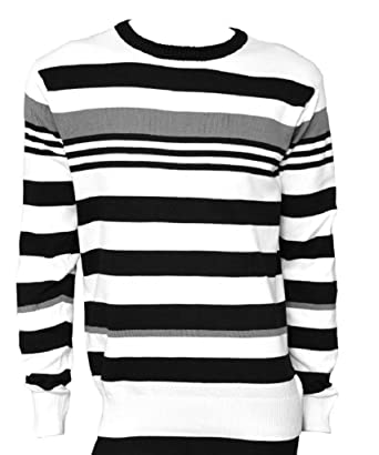3aa55de58d Mens Jumper Bold White   Black Multi Striped Crew Neck Cotton Jumper Sweater .Sizes