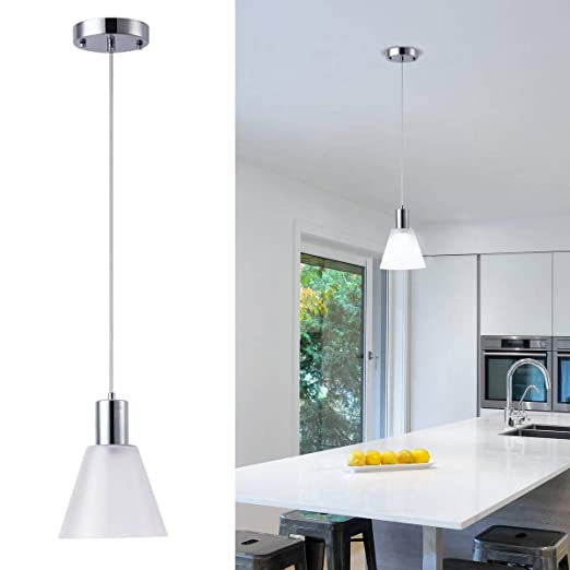 Harchee Mini Pendant Lighting With Cone Frosted Glass Shade Adjustable Led Modern Pendant Light Fixture Ceiling Hanging Lamp For Kitchen Island