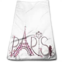 Trendy Romantic French Paris Hand Tower Monogrammed Towels for Guest Bathroom Pink Butterfly Eiffel Tower Soft…