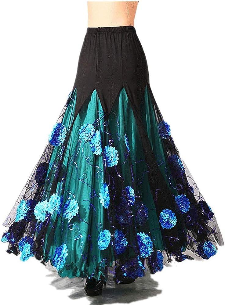 Elegante para Mujer Salón De Baile Vals Baile Largo Swing Tango ...