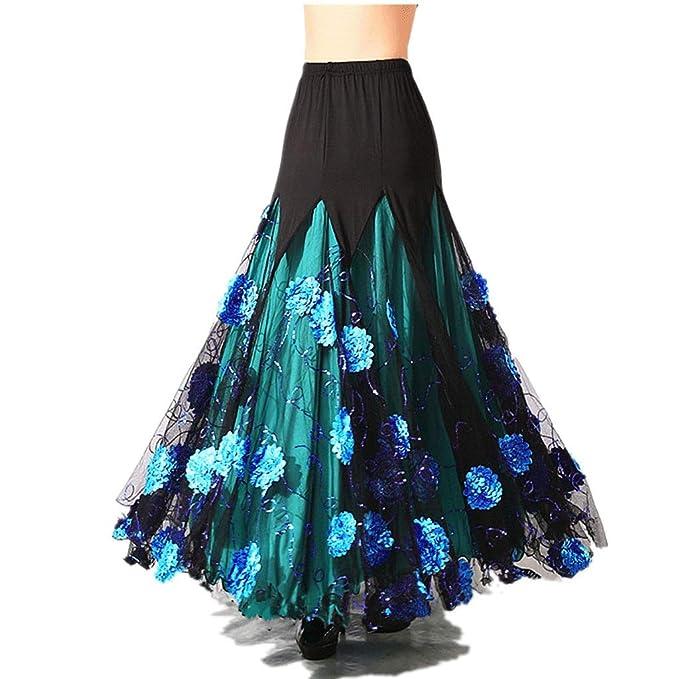 Elegante para Mujer Salón De Baile Vals Baile Largo Swing ...