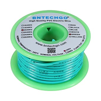 Bntechgo  Electric Wire 20 Gauge Pvc 1007 Wire Stranded Wire Hook Up Wire 300v Stranded Tinned Copper Wire Green 25 Ft Per Reel For Diy