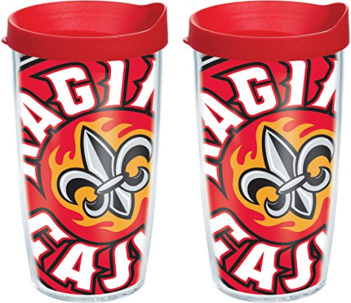 Tervis 1091306 Louisiana Lafayette Ragin' Cajuns Colossal Tumbler with Wrap and Red Lid 2 Pack 16oz, Clear ()