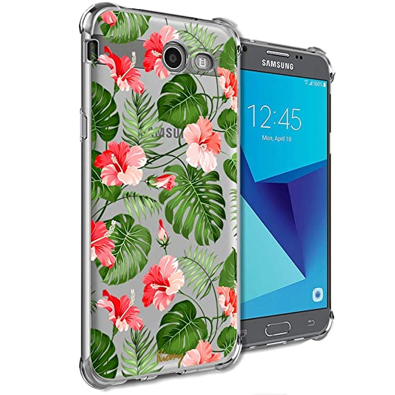 Girly Case for Samsung Galaxy J7 Perx, J7 Prime, J7 Sky Pro, J7 V, Galaxy J7 2017 Clear with Cactus Flowers Design Shockproof Bumper Protective Cell ...