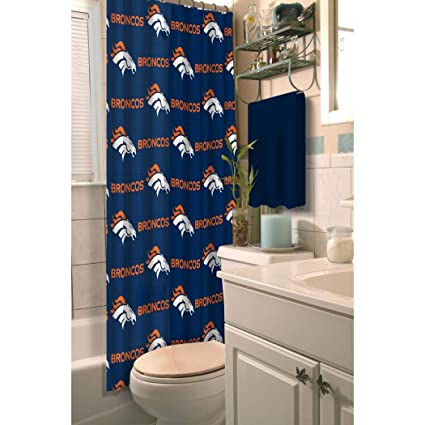 1 Piece Navy Blue Orange NFL Denver Broncos Football Sport Themed Shower Curtain Polyester Detailed
