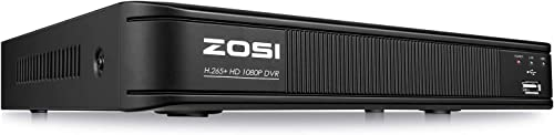 ZOSI H.265 5MP Lite CCTV DVR 8 Channel Full 1080p, Remote Access, Motion Detection, Alert Push, Hybrid Capability 4-in-1 Analog AHD TVI CVI Surveillance DVR for Security Camera No Hard Drive
