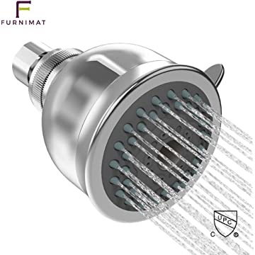 Furnimat Shower Head High Pressure 2 Spray Settings Rainfall Adjustable Brass Bracket, Luxury Chrome Look, Anti-Rust&Leak Universal Replacement for Bathroom Shower Heads