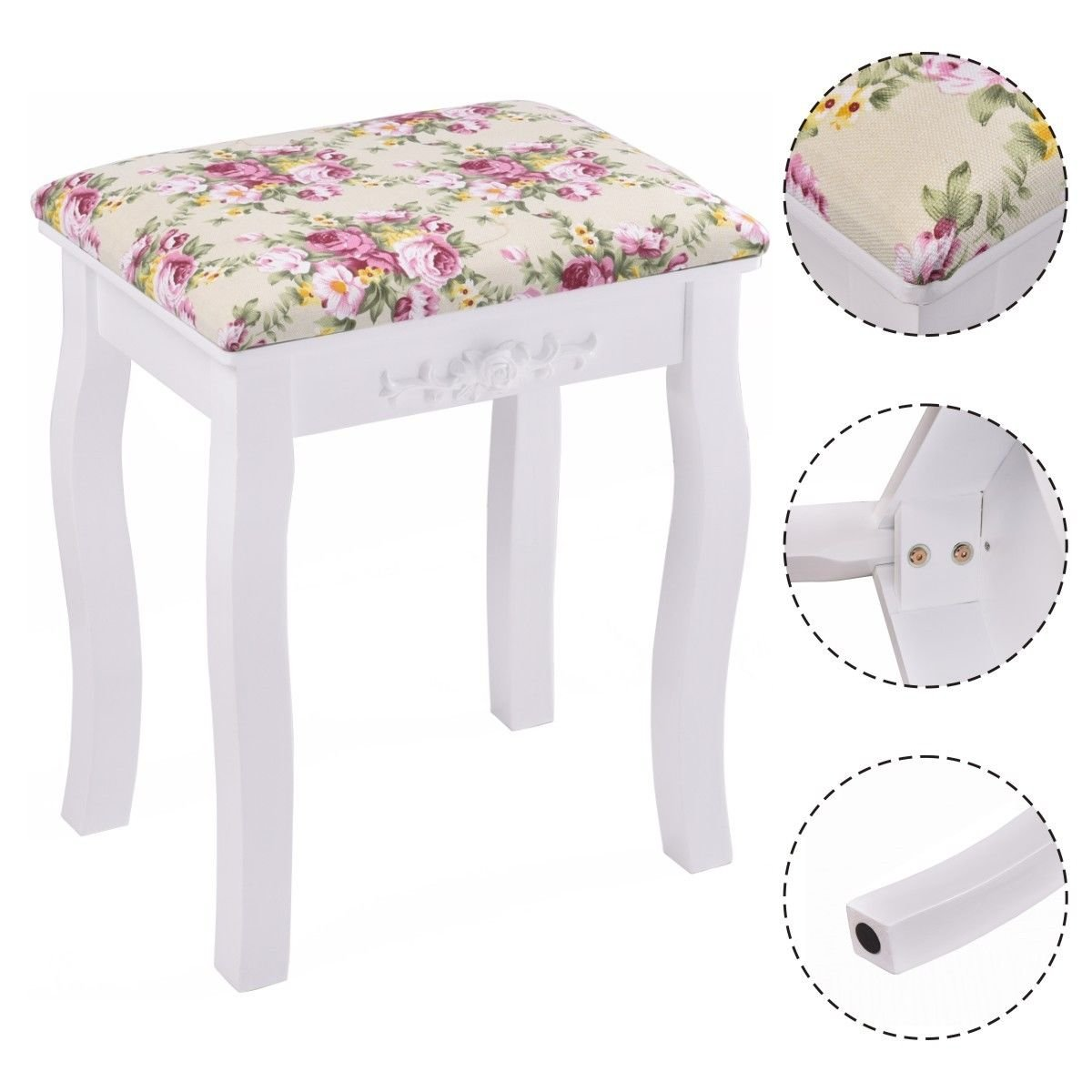 New White Vanity Wood Dressing Stool Padded Chair Makeup Piano Seat W/ Rose cushion