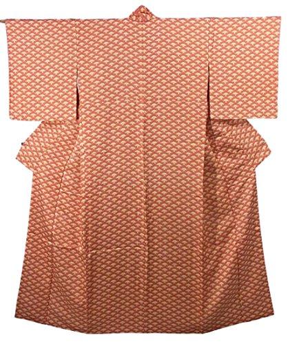 退化するアサート伝染性のリサイクル 着物 小紋 正絹 袷 梅青海波模様 裄65cm 身丈157cm