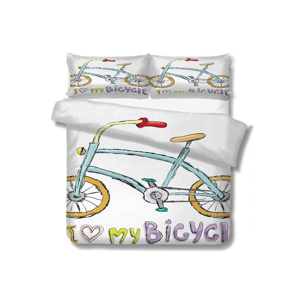 Mozenou Duvet Cover I Love My Bicycle Quote Print with A Little Fashionable Kids Bike with Pedals Cartoon 100% Cotton Bedding, 1 Quilt Cover and 2 Pillowcases, Zip Closure 68x86 inch