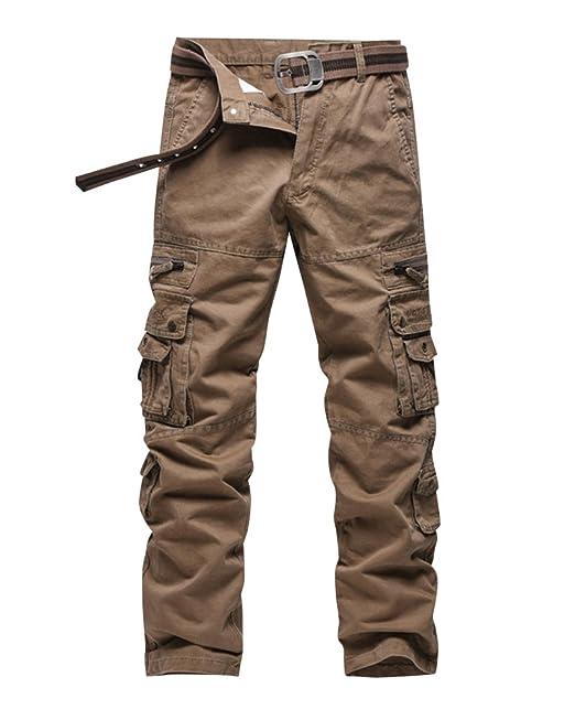 db08212c387 Anyu Hombre Pantalones Cargo Multi-Bolsillo del Pantalón Recto Pantalones  Militares  Amazon.es  Ropa y accesorios