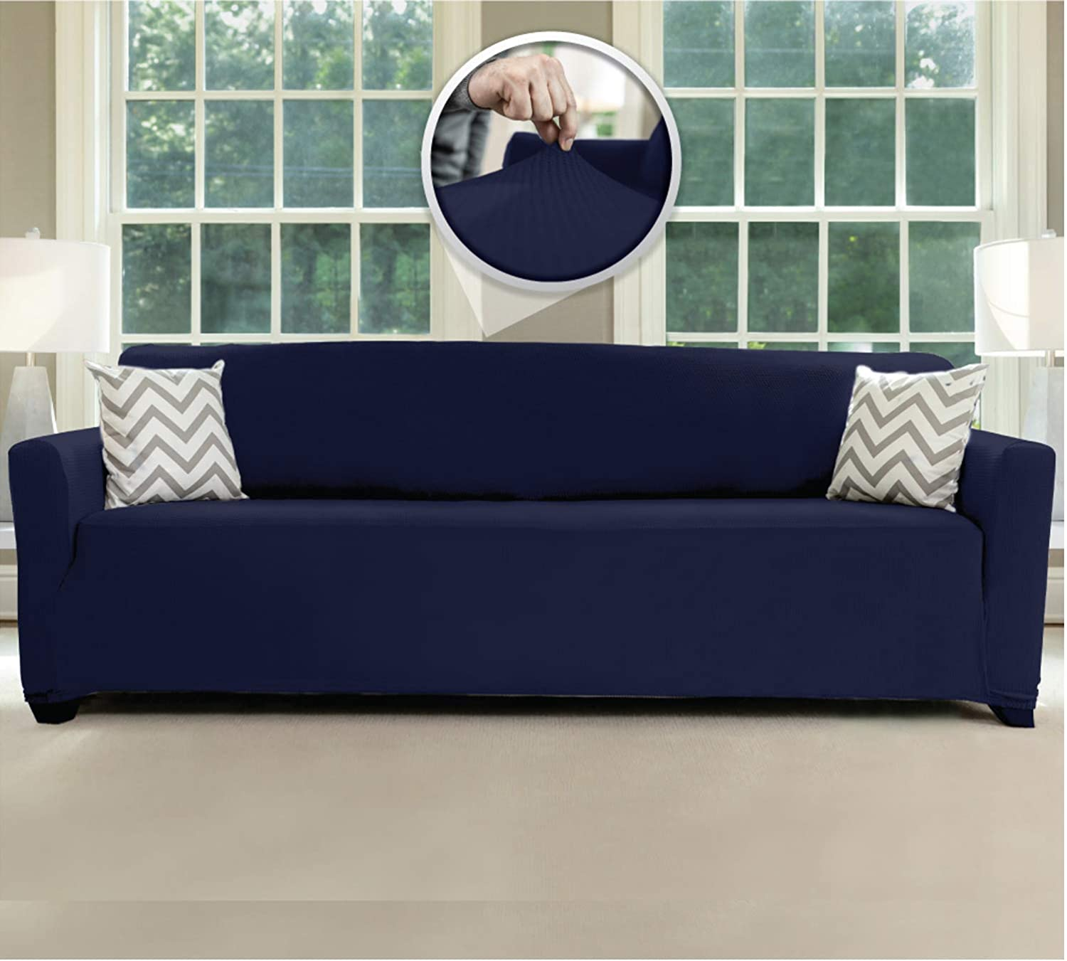 Sofa Shield Original Fitted 1 Piece X-Large Oversized Sofa Protector, Many Colors, Seat Width to 78 Inch, Stretchy Furniture Slipcover, Fastener Straps, Spandex Couch Slip Cover for Dogs, Navy Blue