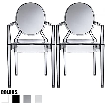 2xhome Set of Two 2 Smoke – Louis Style Ghost Armchair Dining Room Chair – Lounge Arm Arms Armed Chairs Armchairs Accent Seat Higher Fine Modern