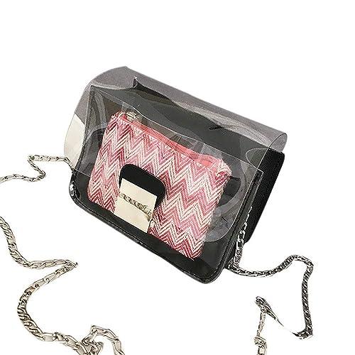 02fabb165d Amazon.com: Women's Crossbody,Clearance!AgrinTo Laser Transparent Jelly Bag  Handbag Tote Bags Lady Portable Shoulder Bags: Shoes