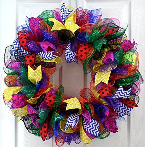 Teacher Birthday Party Superhero Multi Color Deco Mesh Door Wreath; orange blue red yellow pink black emerald green purple