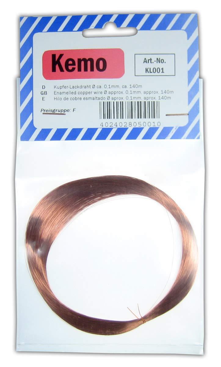 L/änge 0,1 mm 140 m Kemo Kupferlackdraht Durchmesser