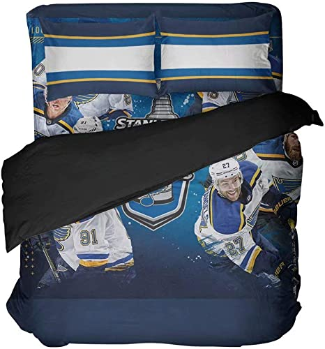 4pcs St Louis Hockey Bedding Full Player Flat Sheet Ice Hockey Athlete Number 91 Duvet Cover Player 27 Quilt Cover Boy S League Sport Team Bed Set Home Kitchen