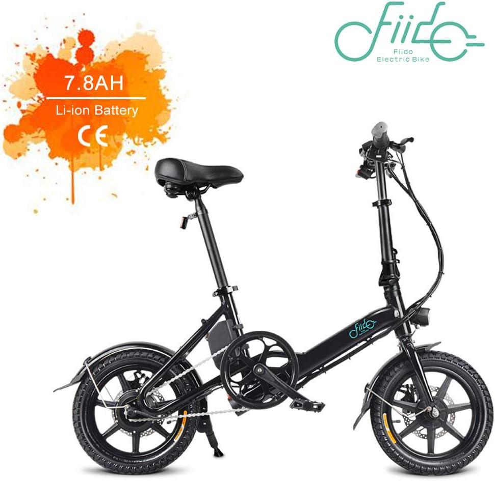 Fiido D3 Bicicleta eléctrica plegable Aluminio 14 pulgadas Plegable Bicicleta eléctrica 250W Motor Bicicleta deportiva para adultos Eléctrica 36V 7.8AH Bicicleta de velocidad Bicicleta plegable al air