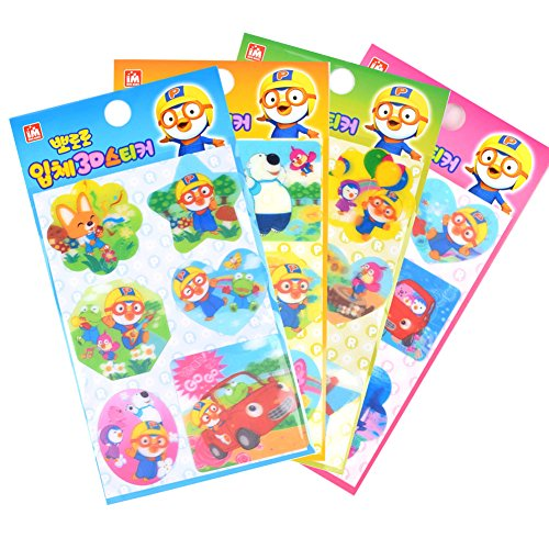 Stickers Lenticular (Pororo 3D Hologram Changing Stickers Sheets (4 Pack) / Lenticular stickers)