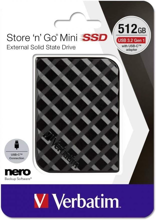 USB-Typ A 3.0 Verbatim Store n Go Mini SSD 512GB Noir Externe Solid-State-Drive