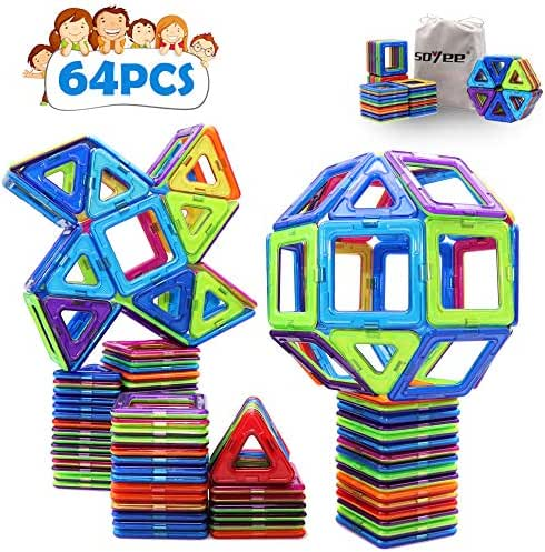 Soyee Kids Toys 64PCS Magnetic Blocks STEM Toys for 3 4 5 6 Year Old Boys and Girls Educational Learning Magnet Big Building Tile Toddlers Gifts