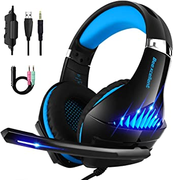 Soft Memory Earmuffs for Laptop,PC,Mac,iPad Lightweight Noise Cancelling Over Ear PC Gaming Headphones with Anti-Noise Mic Xbox One Headset Surround Sound SENICC Stereo Gaming Headset for PS4