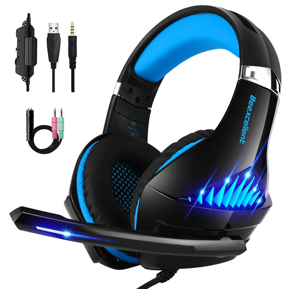 Deep Dream Gaming Headset for Xbox One, PS4 and PC with Microphone, Noise Cancelling Over-Ear Headphones with Mic, Led Lights, Volume Control Beexcellent