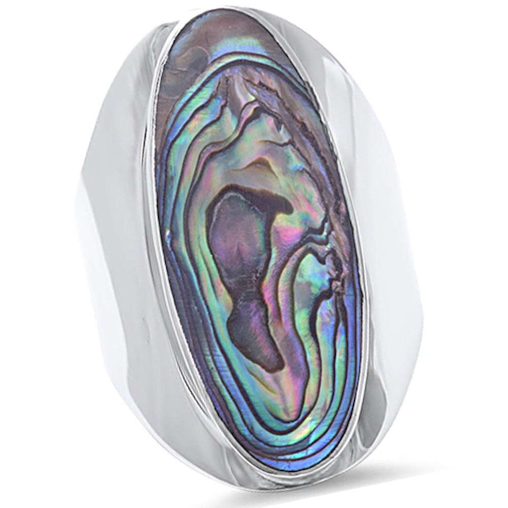 Big Oval Abalone Shell .925 Sterling Silver Ring Sizes 5-10 (5)