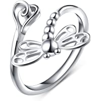 Flyow 925 Sterling Silver Jewellery Adjustable Open Dragonfly Animal Rings for Women and Girls