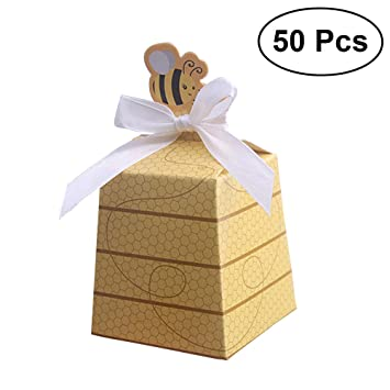 Nuolux 50pcs Paper Boxes Cute Beehive Bowknot Candy Boxes Party Gift Bags For Baby Shower Birthday Decorations