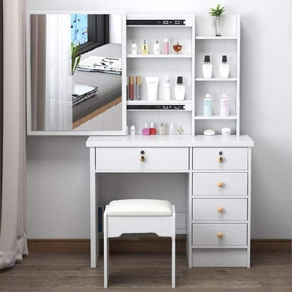 Drawers on the Right Henyao Dressing Table with Mirror and Stool Makeup Desk Vanity Bedroom Wood Dressing Table with 5 Storage Drawers White