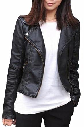 4a919df4f8 Generic Women s Plus Size Slim Lapel Faux Leather Zipper Jacket Coat Black  XS at Amazon Women s Coats Shop