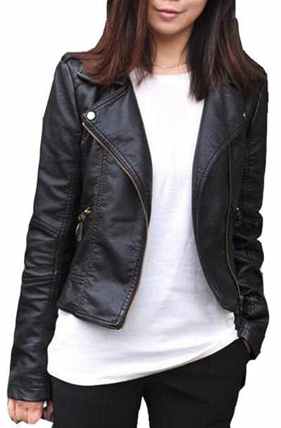 Generic Womens Plus Size Slim Lapel Faux Leather Zipper ...