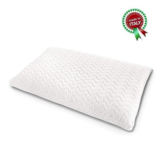 Goldflex – Cojín Natural de Puro Lino Mixto al algodón con Soporte bajo y Tejido Acolchado en Fresco algodón al 100% // isotérmico, cómodo y ...