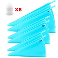 Silicone Pastry Bags, Weetiee 3 Sizes Reusable Icing Piping Bags Baking Cookie Cake Decorating Bags (12''+14''+16'')- 6 Pack - Bonus 6 Icing Couplers Fit to Wilton Standard Size Tips