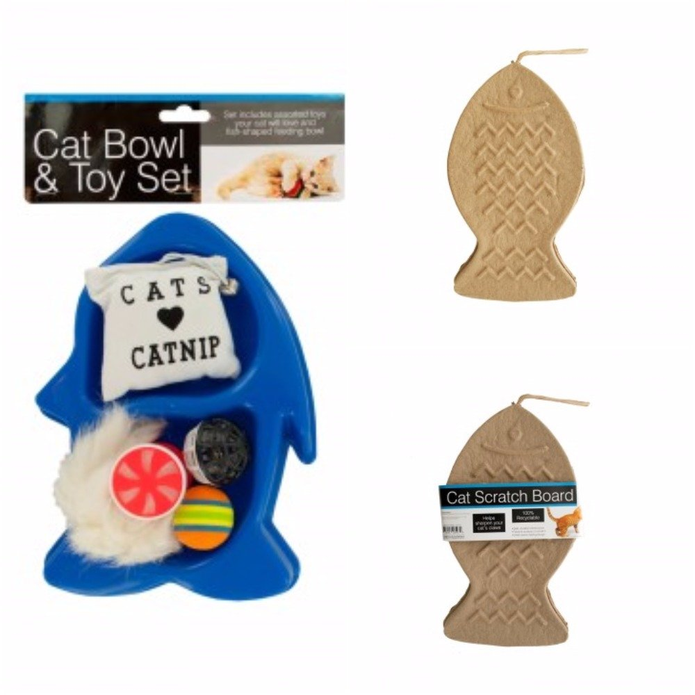 6-piece Fish Shaped Cat Bowl & Toy Set with Fish Shaped Hanging Cat Scratch Board Ideal for fun and feeding