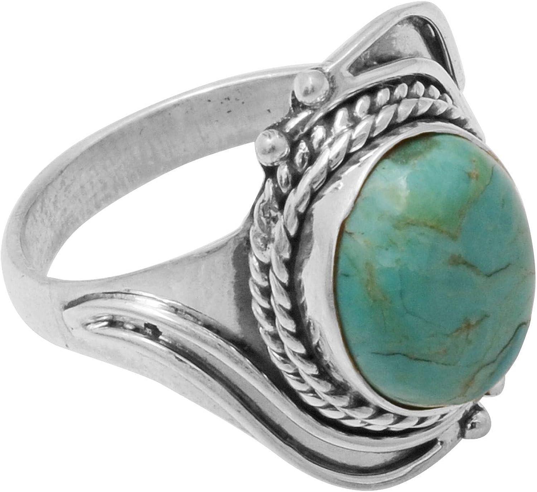 Silver Palace Anillo de derivación de joyería de Plata esterlina con Piedras Preciosas de Turquesa Natural Tamaño-8.5