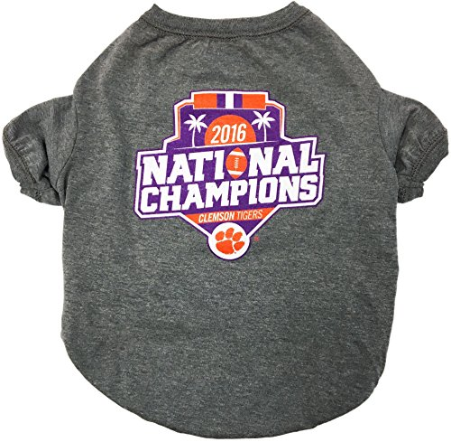 Pets First NCAA Clemson Tigers 2017 College Football National Championship Tee Shirt, Small