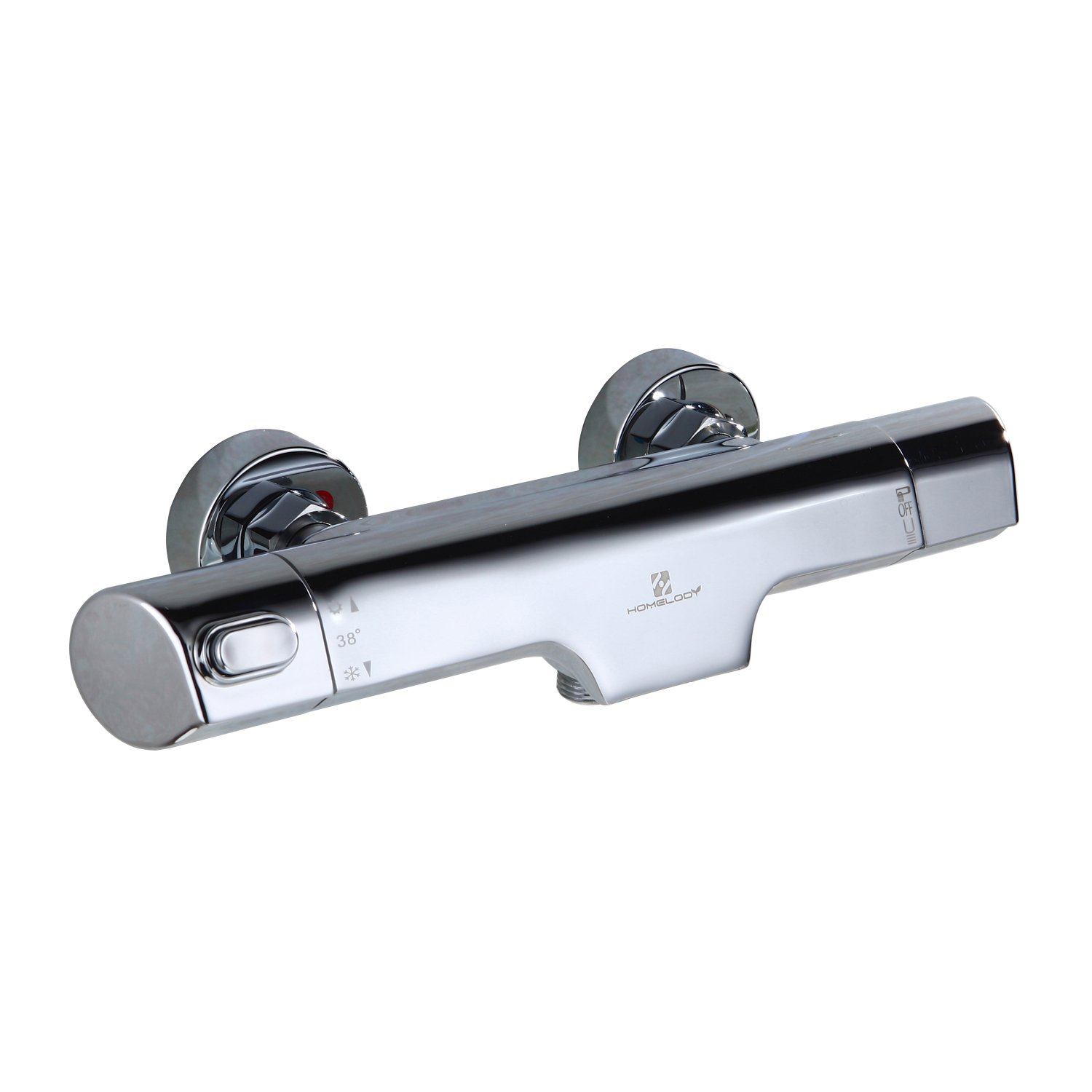 HOMELODY Chrome Thermostatic Bath Mixer Shower Bar Valve Bathroom Waterfall Mixer Tap,Wall Mounted Thermostatic Shower Bar