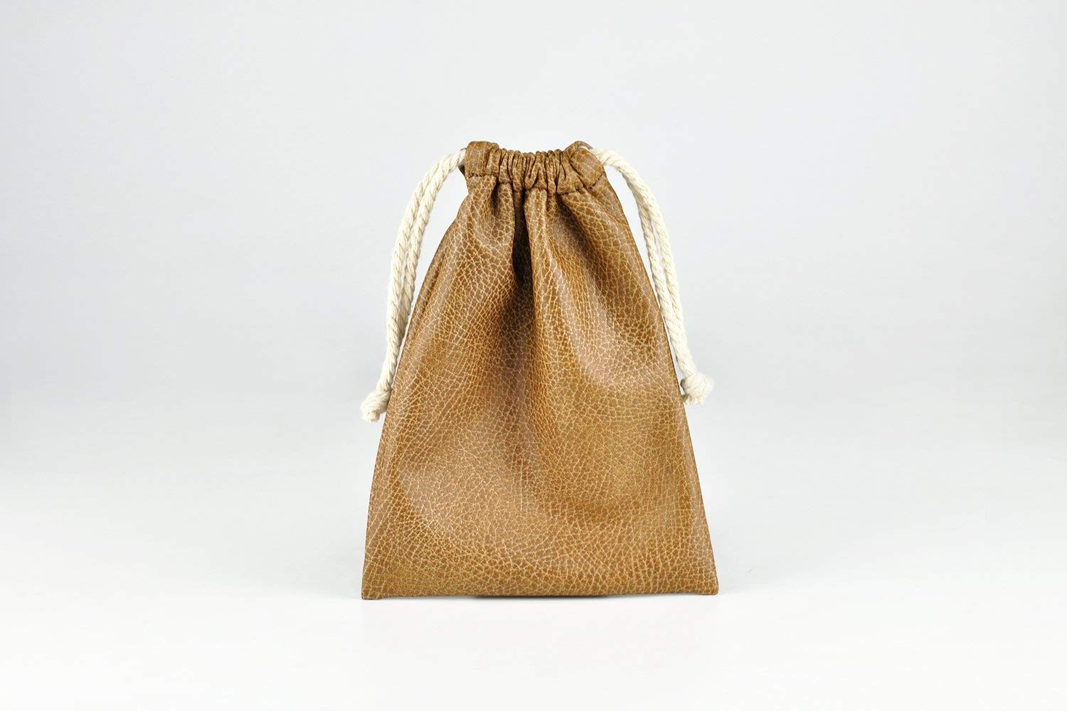 「Thing.Is」Soft PU Leather Drawstring Bag, Make up Bag with Drawstring, Jewelry Bag, Small String Pouch, Gift Bags, Brown