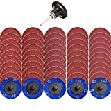 """NYXCL 50Pcs Roloc Quick Change Discs Set, 2 inch A/O Sanding Discs with 1/4"""" Holder, for Die Grinder Surface Prep Strip Grind Polish Finish Burr Rust Paint Removal,Surface Conditioning Discs"""