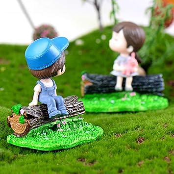 Kalaokei Casa De Muñecas Accesorios Resina Tocón Taburete Césped Jardín Miniatura Estatuilla Bonsai Ornamento Decoración del Paisaje Color Claro: Amazon.es: Juguetes y juegos