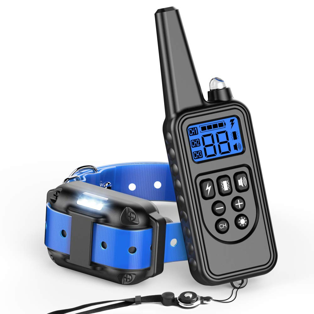 bluee Ace Teah Dog Training Collar Waterproof and Rechargeable Dog Shock Collar 2600ft Remote Dog Training Collar with Beep Vibra Shock Electric Collar for Small Medium Large Dogs