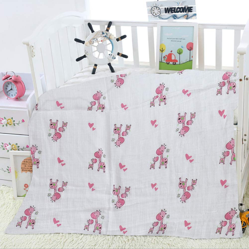 Large-Size Organic Muslin Swaddle Blanket Beautiful 100/% Cotton Organic Swaddle Blankets for Boy and Girl 47 x 47 inches Giraffe