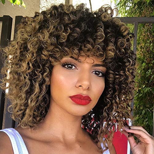 Nnzes Short Curly Afro Wig for Black Women Brown Kinky Curly Full Wigs with Bangs African Shoulder Length Women's Hair with Natural Curly for Daily Wear Synthetic Heat Resistant Fiber Afro Hair