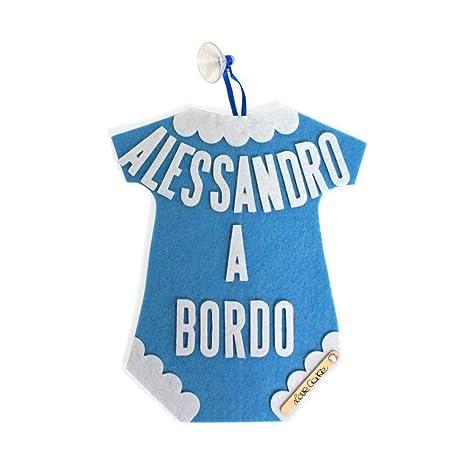 Bimbo A Bordo a forma de Body by lovecake, personalizado con nombre del bebé.