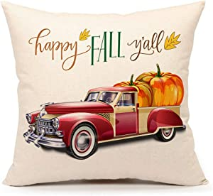 4TH Emotion Happy Fall Y'all Truck Pumpkin Throw Pillow Case Cushion Cover 18 x 18 Inch Cotton Linen Halloween Thanksgiving Home Decor
