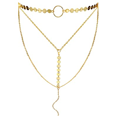 caef9a2ae Suyi Stylish Layered Sequins Choker Necklace with Thin Long Chain Pendant  for Women Lady Girl A