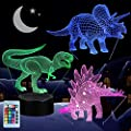 3d Dinosaur Night Light Vsaten 3d Illusion Lamp Three Pattern And 7 Color Change Decor Lamp With Remote Control For Living Bed Room Bar Best Gift Toys 3 Packs